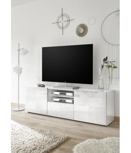 Porta TV 2 ante 1 cassetto bianco serigrafato