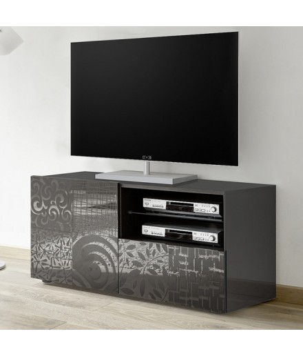 Base TV 1 anta / 1 cassetto serigrafato grigio laccato