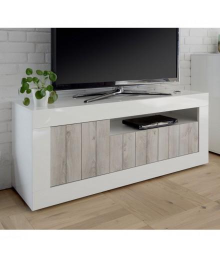 Porta TV 3 ante Bianco laccato/Pino bianco