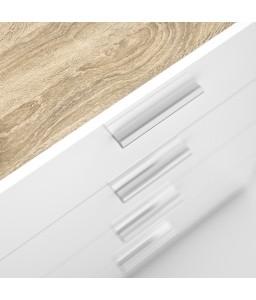 Cassettiera 4 cassetti Rovere / Bianco laccato