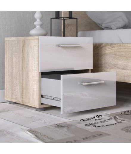 Comodino 2 cassetti Quercia / Bianco Laccato