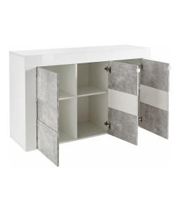 Credenza 3 ante contenitore Bianco laccato/Cemento