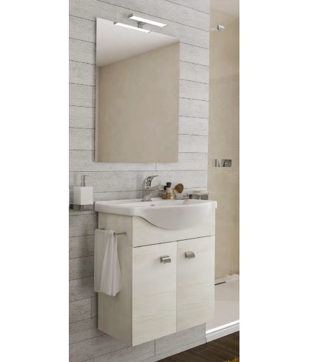 Composizione bagno completa di mobile,specchio,lavabo,led,porta asciugamani