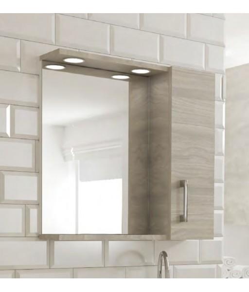 Specchio 1 anta contenitore con led rovere grigio