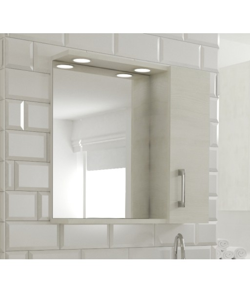 Specchio 1 anta contenitore con led rovere bianco
