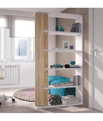 Libreria 5 piani Bianco/Rovere