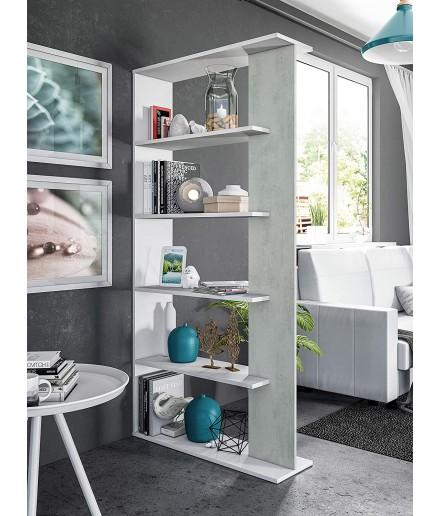 Libreria 5 piani Bianco / Cemento