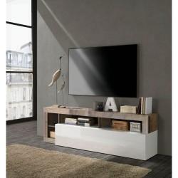 Porta TV 1 ribalta / 3 Vani Bianco Laccato / Pero