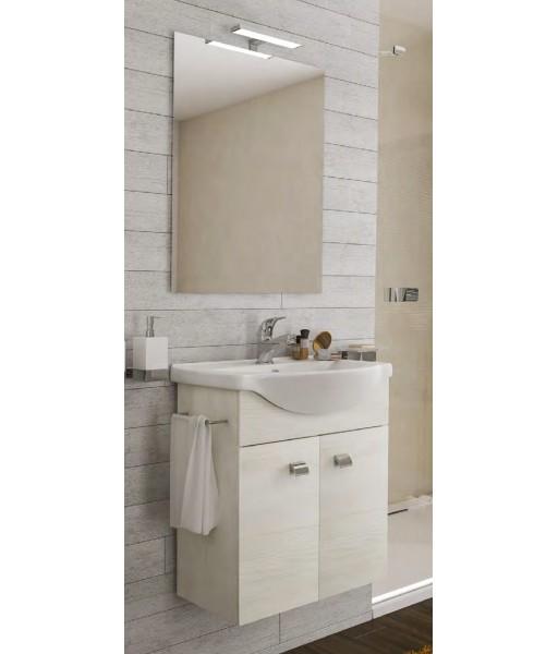 Composizione bagno completa con mobile,specchio,lavabo,led,porta asciugamani