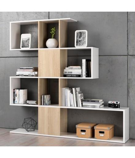 Libreria sfalsata moderna Bianco/Rovere