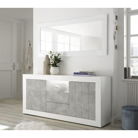 Madia 2 ante / 2 cassetti / 1 vano Bianco laccato - Cemento
