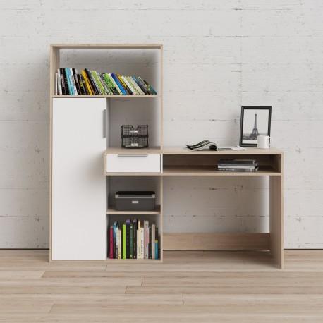 Scrivania con libreria frontale Quercia / Bianco