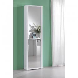 Scarpiera con specchio bianco laccato